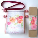 Spring garden flower wedding invitation scroll with watercolor blooms and presentation box