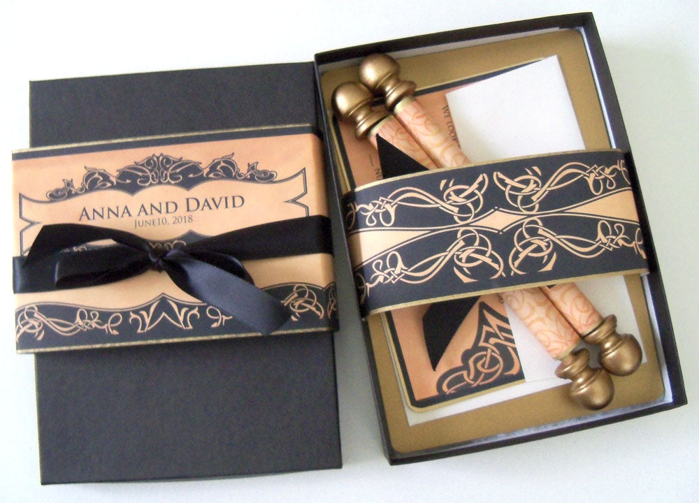 Medieval Castle Wedding Invitation Scroll Suite Boxed Artful