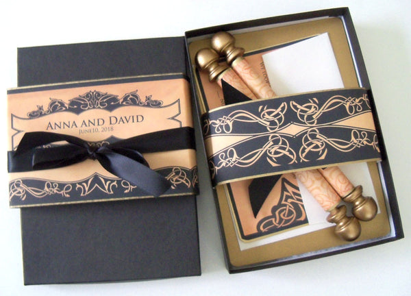 Medieval castle wedding invitation scroll suite, boxed