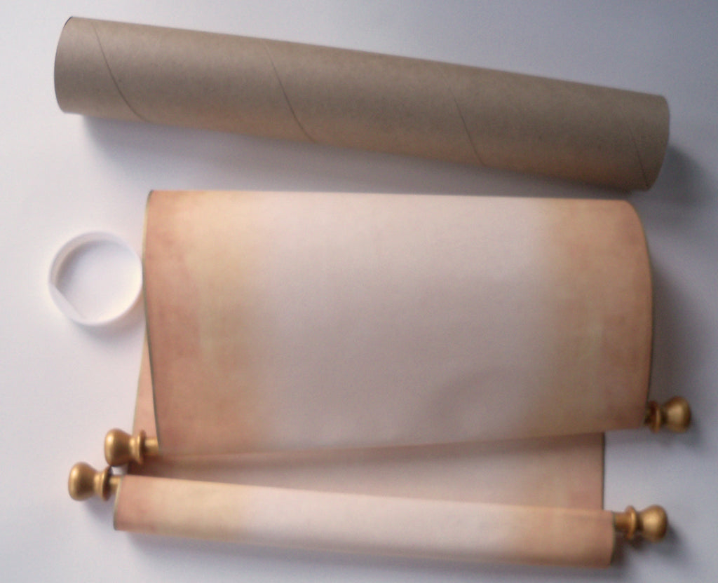 extra large blank aged parchment scroll with gold accents artful