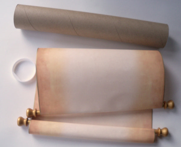"Extra large blank aged parchment scroll with gold accents, 12x20""paper, storage tube"