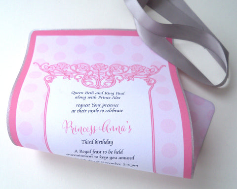 Pink roses fairy princess birthday invitation scrolls in pink and silver with polka dots, set of 10