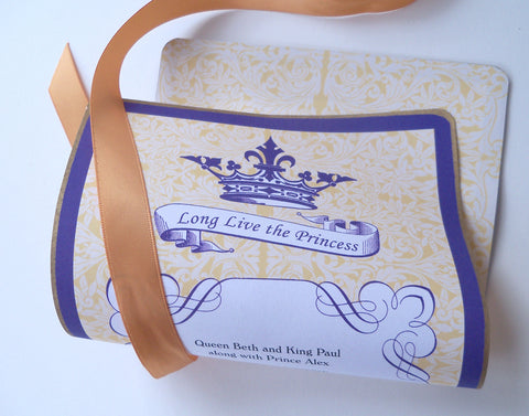 Princess birthday invitation scrolls in purple and gold, set of 10