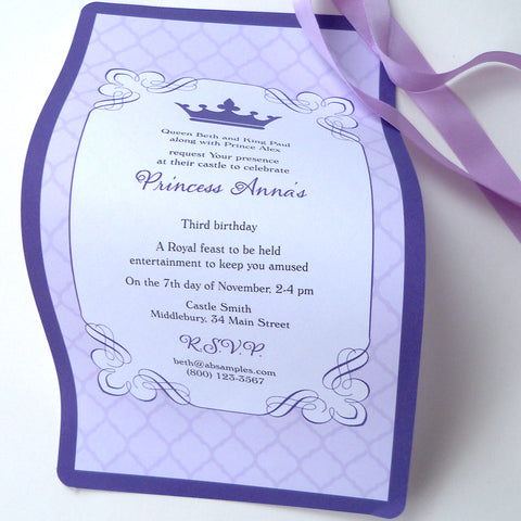 Royal crown birthday invitation scrolls in purple and gold, set of 10