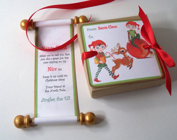 Santa's Elf Nice list, Santa's helper letter, Christmas scroll, miniature letter from elf