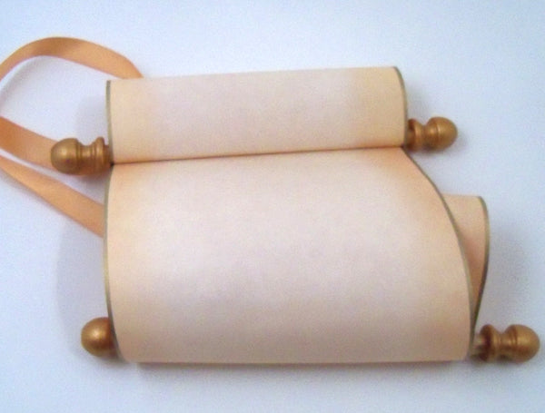 "Blank paper scroll on aged parchment, gold finials and kraft box, 5x12"" paper"
