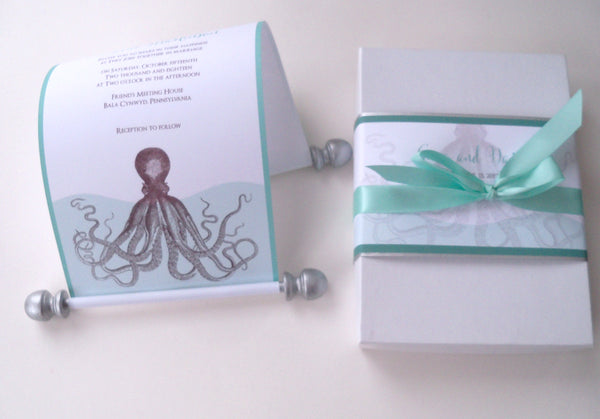 Beach wedding invitation scroll suite in a box with octopus in aqua and brown