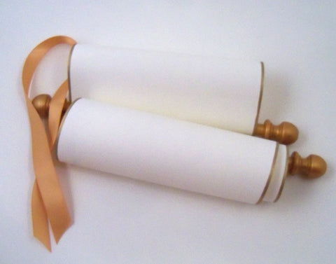 "Blank paper scroll, cream parchment paper with gold finials and kraft box, 5x12"" paper"