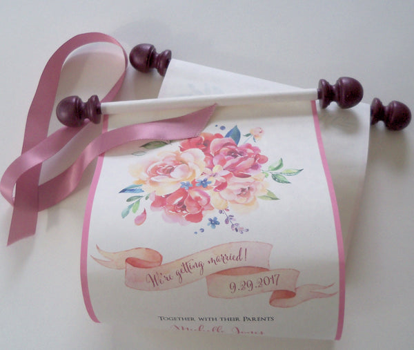 Spring floral wedding invitation scrolls with watercolor roses and banner