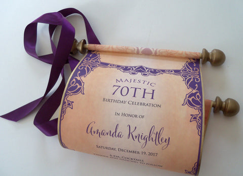 70th birthday celebration scroll invitations in aged gold and purple, set of 10