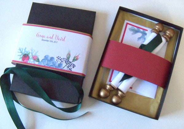 Red roses traditional winter wedding invitation scroll suite, boxed