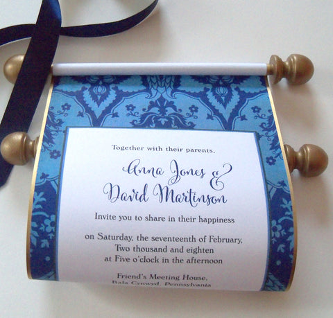 Medieval castle wedding invitation scrolls in teal and aged gold with intricate damask, set of 10
