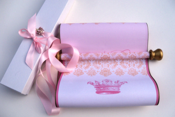 "Blank scroll in pink and gold with damask and princess crown for handwritten message, 7x20"" paper"