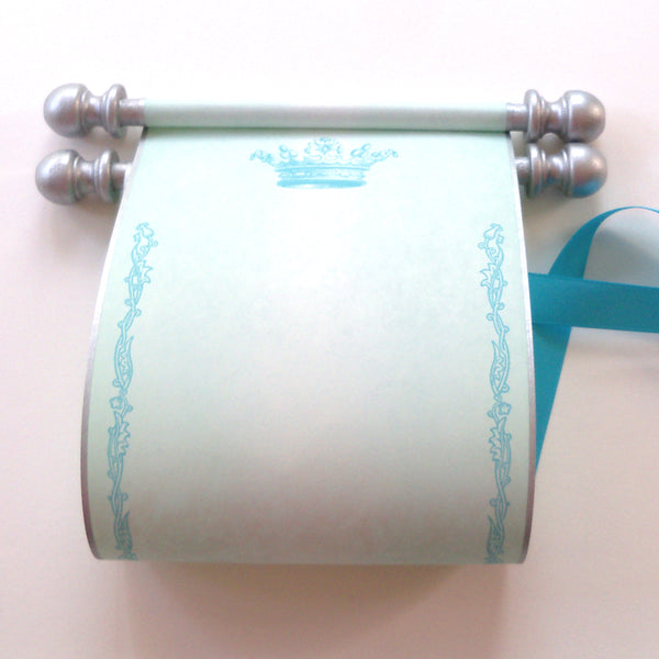 "Blank parchment paper scroll in light blue with princess crown, 5x12"" paper with silver finials"