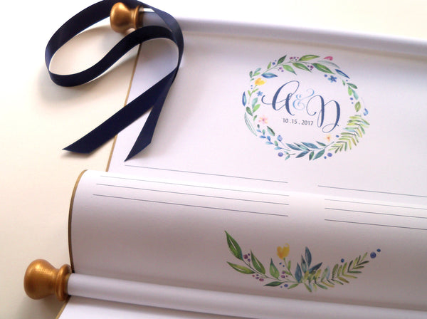 Guest list paper scroll with greenery wreath and storage tube, 50-150 guests