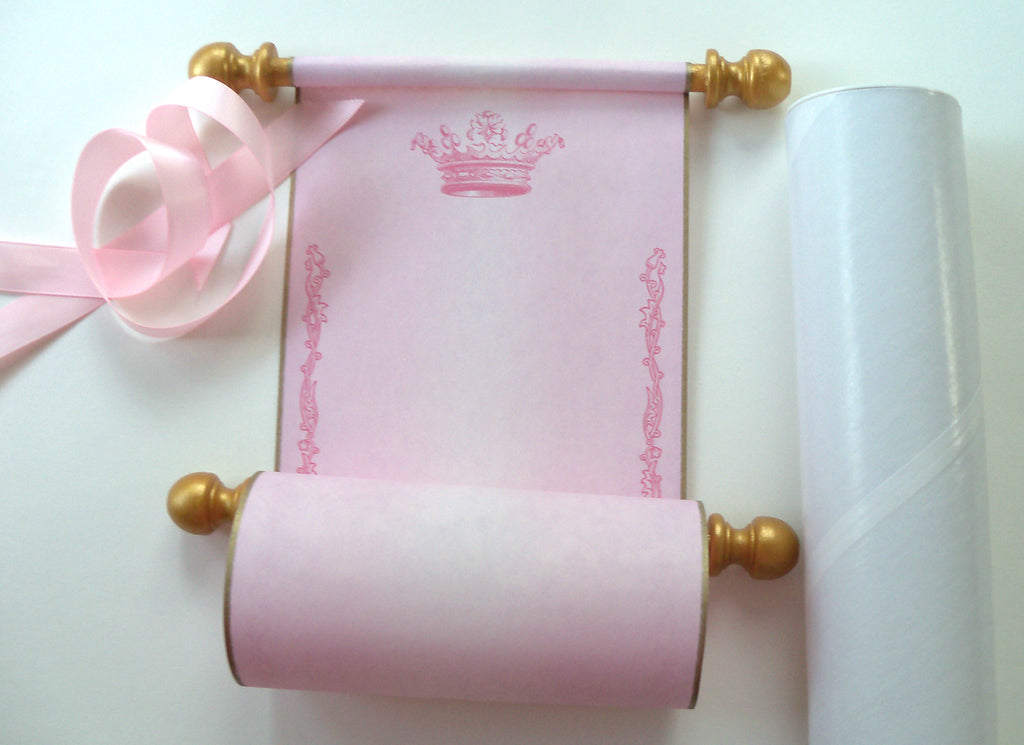 blank aged parchment paper scroll in pink with princess crown