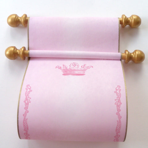 "Blank aged parchment paper scroll in pink with princess crown and floral border, handwritten letter or invitation for a princess, 5x12"" paper"