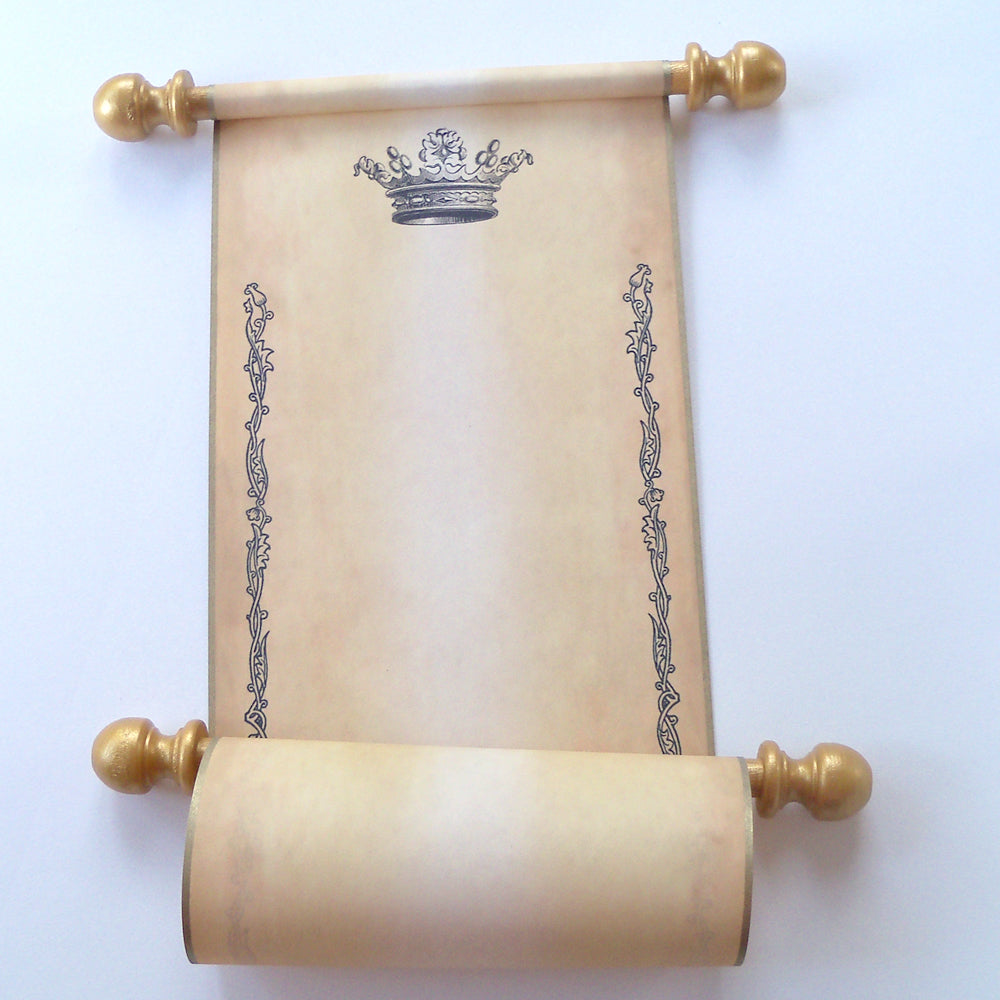 blank aged parchment paper scroll with princess crown floral