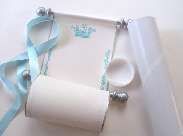 "Blank cream parchment paper scroll in blue and silver with princess crown, 5x12"" paper"