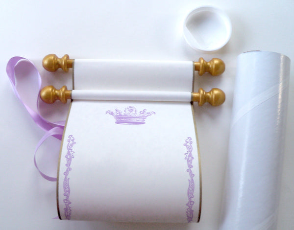 "Blank cream parchment paper scroll in lavender and gold with princess crown, 5x12"" paper with gold finials"