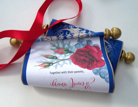 Beauty and the Beast wedding invitation scroll, storybook weddings, set of 10