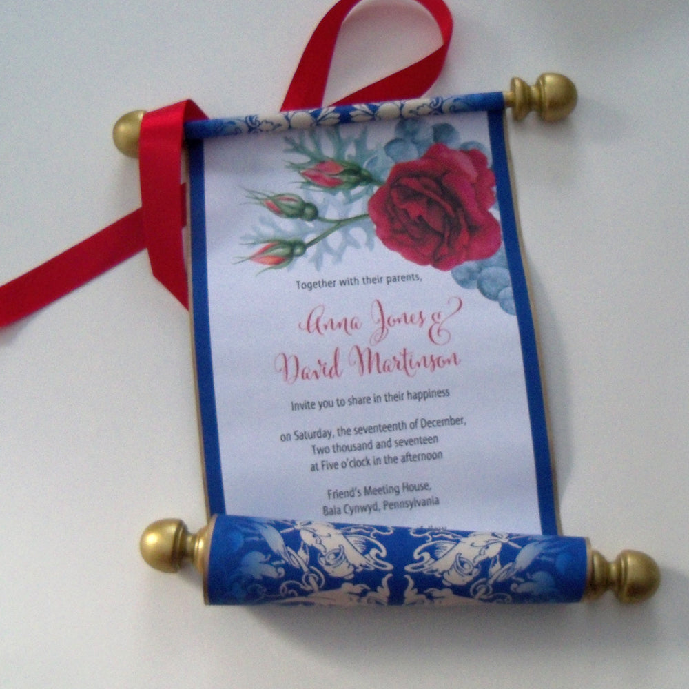 Beauty And The Beast Wedding Invitation Scroll Storybook Weddings Set Of 10