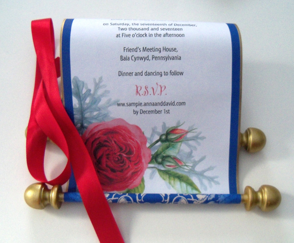 Beauty and the Beast wedding invitation scroll, storybook weddings ...