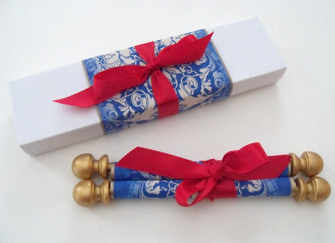 Beauty and the beast fairy tale wedding invitation scroll in blue, gold and red, with presentation box