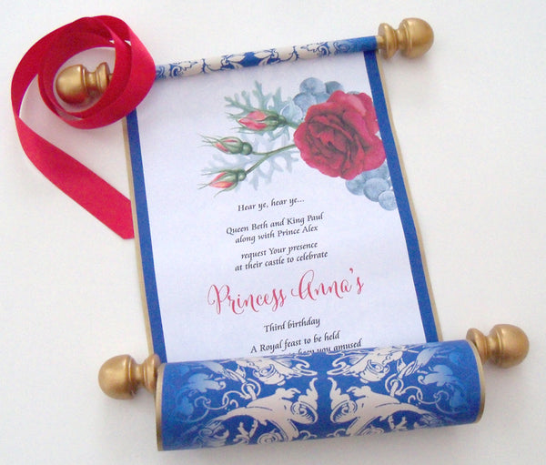 Beauty And The Beast Birthday Invitation Scroll Belle Party Artful Beginnings