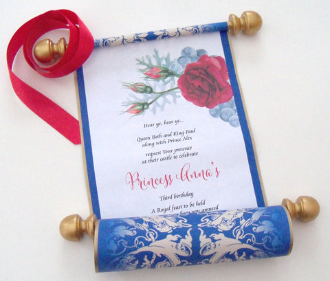 Beauty and the Beast birthday invitation scroll, Belle birthday party invitation, fairytale princess party, set of 10
