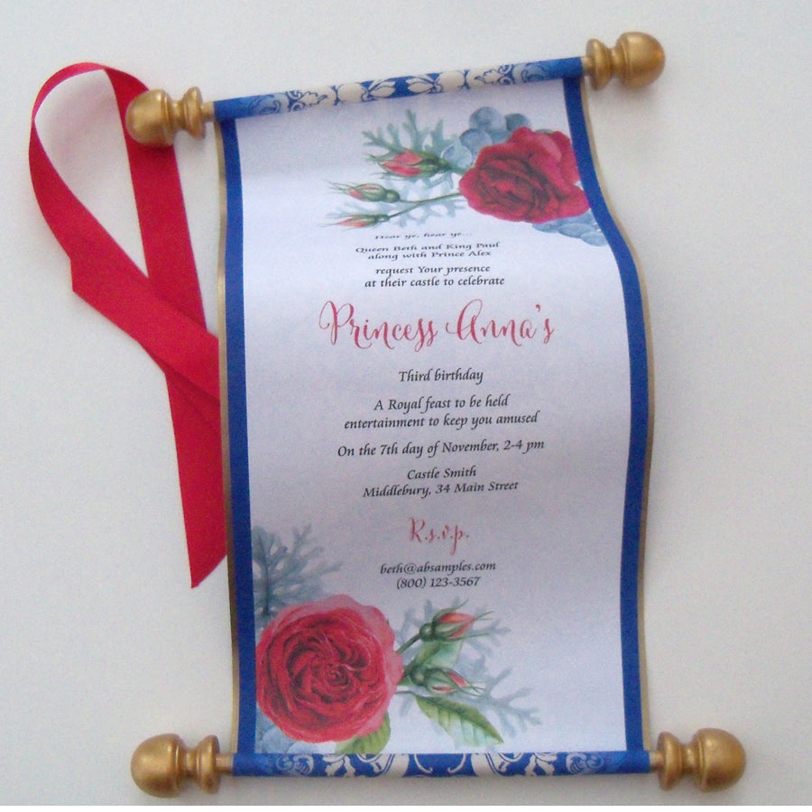 beauty and the beast birthday invitation scroll belle birthday