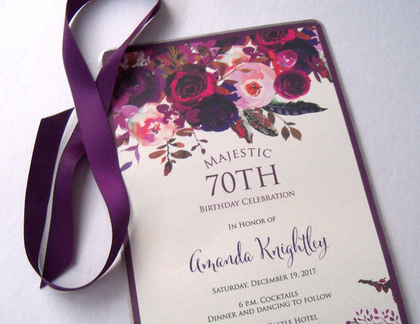 Elegant floral birthday invitation scrolls in aubergine and gold, set of 10