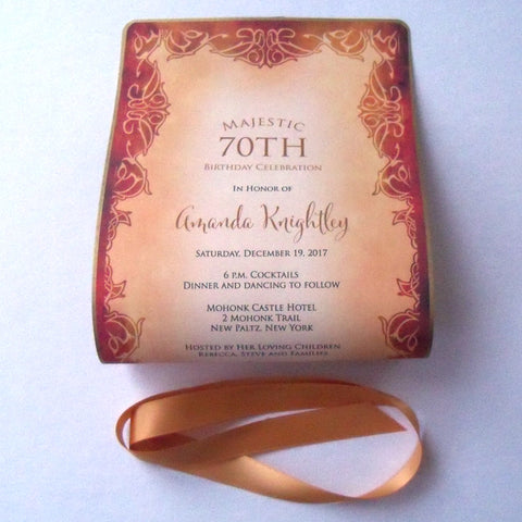 70th Birthday invitation roll up scroll in aged gold pattern, set of 10