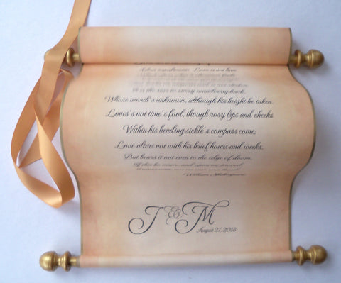 "Personalized wedding vows paper scroll, wedding gift, custom printed scroll with monogram, message scroll, anniversary scroll, 8x17"" long"