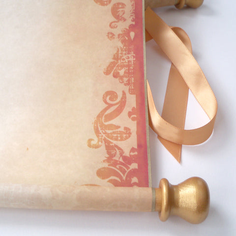 "Extra large decorative blank aged parchment scroll with gold accents, medieval damask in burnt orange, 12x20""paper, storage tube"