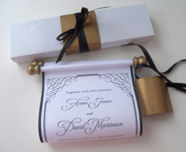 Traditional black and white wedding invitation scroll with aged gold accents and presentation box
