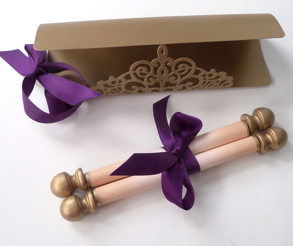 Elegant floral damask wedding invitation scroll with delicate gold folder, set of 10