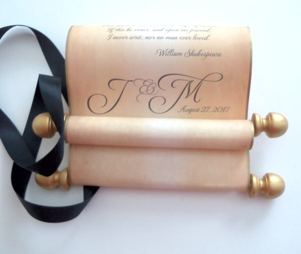 Wedding vows scroll on custom printed aged parchment, marriage proposal, love letter, paper anniversary gift - scroll only (no box)