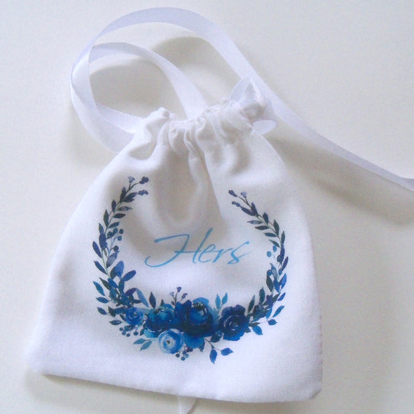 Wedding ring pouch with custom monogram, indigo floral wreath, His and/or Hers