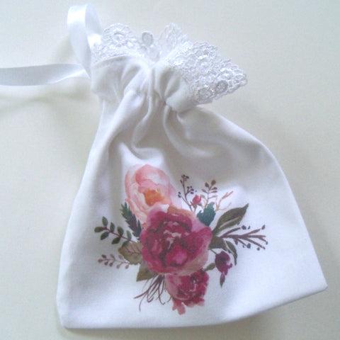 Wedding ring pouch with flowers and lace, custom monogram