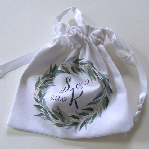 Monogram wedding ring pouch with eucalyptus greenery leaves