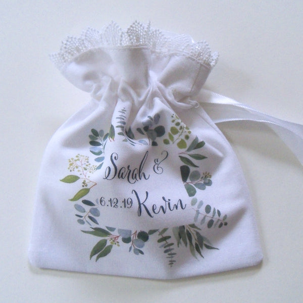 Wedding ring pouch with custom monogram and greenery