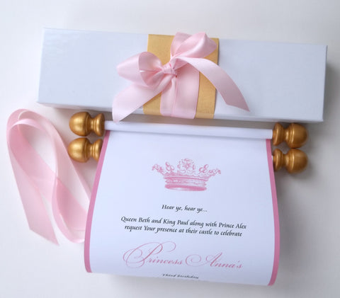 Princess invitation scroll with castle, boxed paper scroll invitations, royal birthday party, gold and pink, set of 10