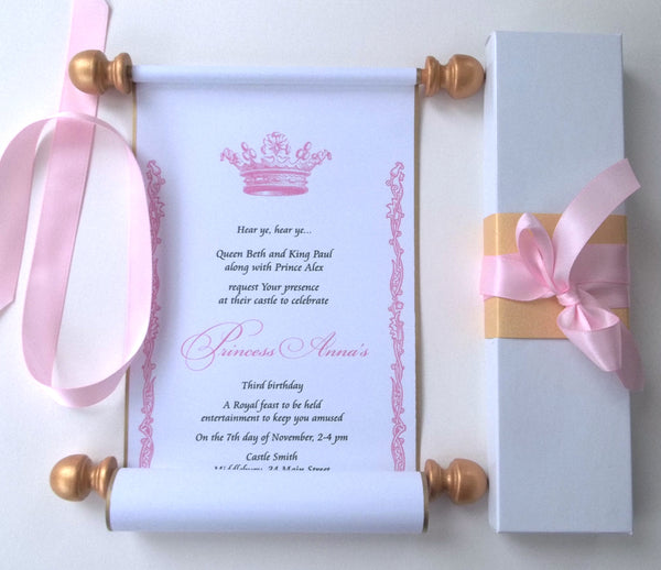 Princess invitation scroll with royal crown, birthday party invitations, gold and pink, set of 10 scrolls with boxes