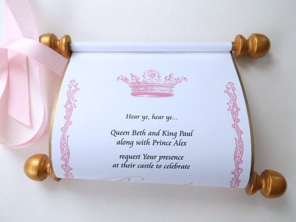 Princess invitation scroll, royal birthday party, gold and pink, set of 10