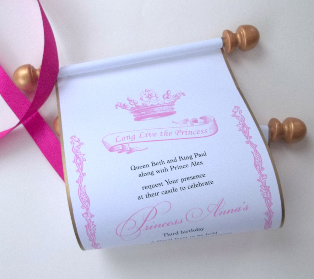 Royal Princess Birthday Invitation Scroll With Banner And Crown Artful Beginnings