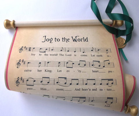 Joy to the World rustic music scroll wall hanging