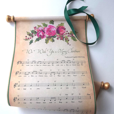 We Wish You a Merry Christmas rustic music scroll decoration