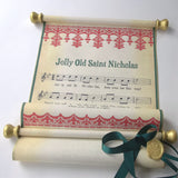 Jolly Old Saint Nicholas rustic music scroll wall hanging