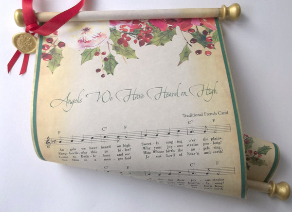 Angels We Have Heard on High Christmas music on a scroll, rustic country decoration